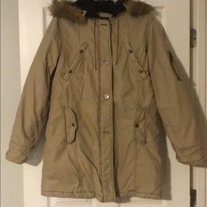Long American eagle fur hooded tan jacket